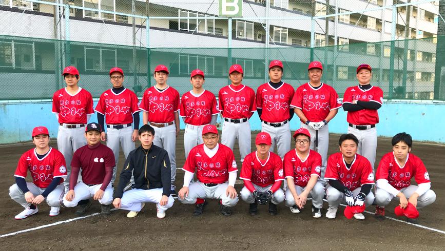 やまや野球部、めんたいこカラーのユニフォームで初練習試合!